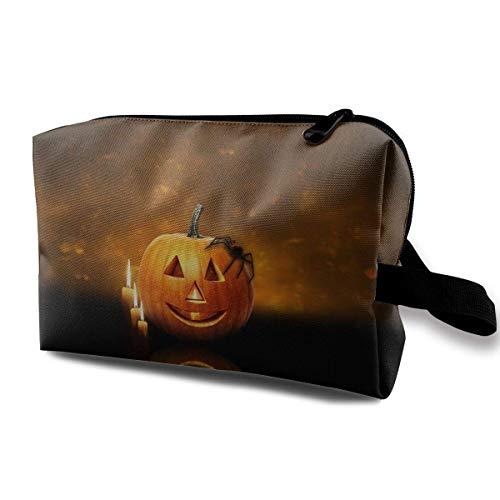 With Wristlet Cosmetic Bags Halloween Pumpkin Candles Travel Portable Makeup Bag Zipper Wallet Hangbag (Halloween Gefrorenen Make-up)
