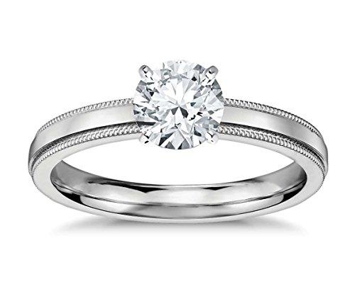 Lilu Jewels 1/2C.T taglio rotondo Genuine Moissanite anello solitario in argento Sterling 925, Argento, 23,5, (Taglio Rotondo Moissanite Solitaire)