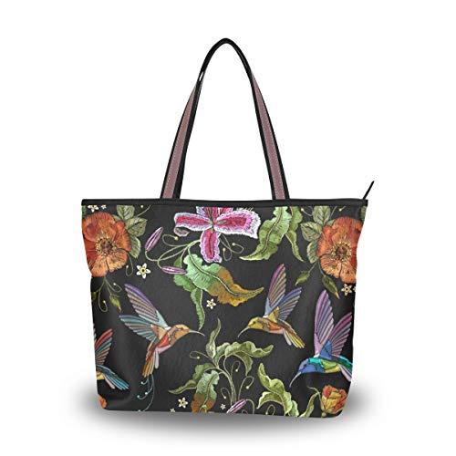 Ahomy Große Strandtasche Tropische Kolibri Orchidee Rose Reisetasche Urlaub Shopping Handtaschen, Mehrfarbig - multi - Größe: Medium (Medium Hobo Handtasche)