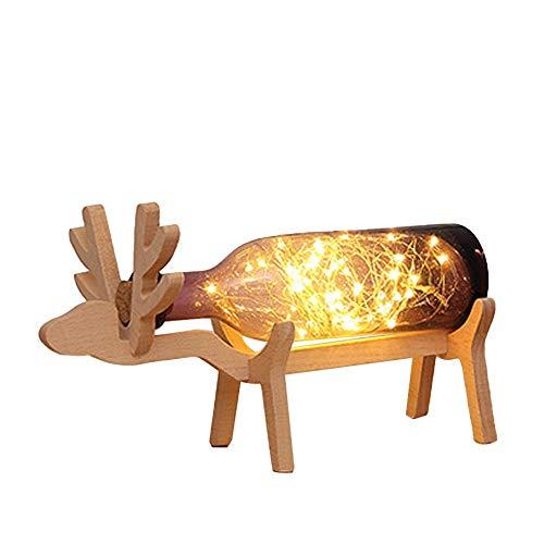 TDFGCR Xmas Elk LED Glasflasche Wood Base Illusion Nachtschalter Tischleuchte Lampe—Lila