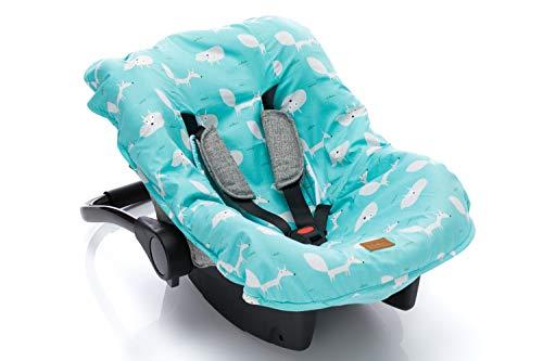 Fillikid Sitzbezug für Autositz Babyschale Autositz I Universal Sommerbezug & Schonbezug 100{f6bbc0e25d6225e0baaba22134e27b4fcba89e32c69971f9c3ad3c7861032841} Baumwolle I Bezug abnehmbar & waschbar, Design:mint fuchs