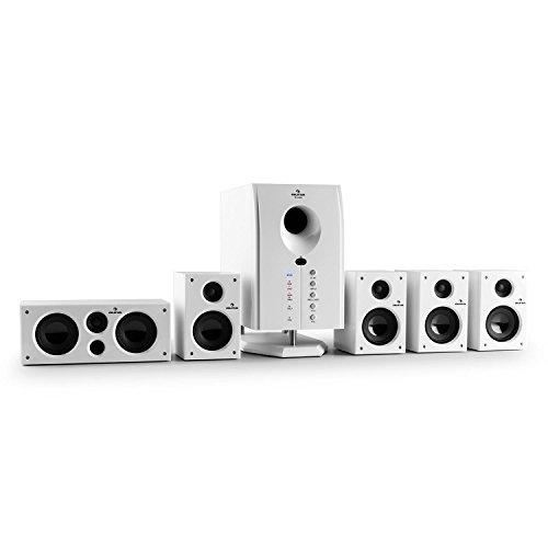 auna Areal 525 WH • Heimkinosystem • 5.1 Surround Sound System • 125 Watt RMS • Aktiv-Mono-Subwoofer • 13,5 cm (5,25
