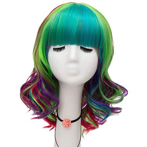 NiceLisa Mode Dame 16 Zoll Flache Pony Regenbogen Bunte Curly Wave Cosplay Perücke ()