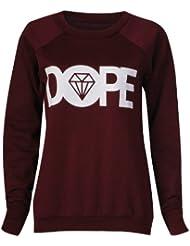 Fast Fashion - Pullover Manches Longues Dope Diamant Impression Molletonné Haut - Femme (S/M = 36/38, Vin)