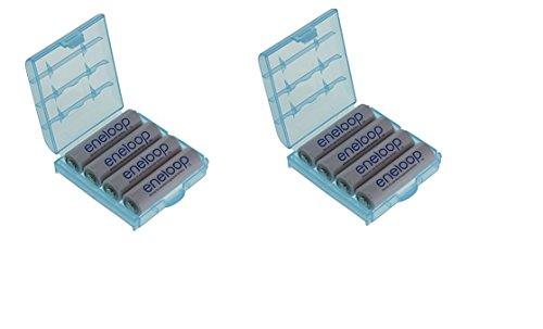 Panasonic 8 batterie stilo tipo AA, 2000 mAh, BK-3MCCE (min. 1900 mAh), con 2 custodie HEIBA Electronics