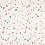 0,5m Jersey Herzen Rosa Pink + Blau Grau auf Weiß