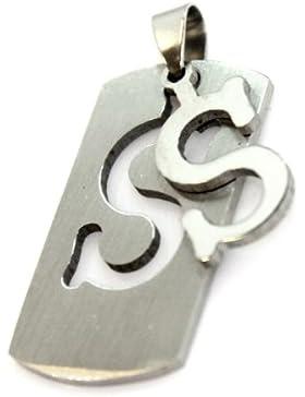Army Hundemarke Buchstabe S Military Edelstahl Anhänger Halskette Silber Alphabet