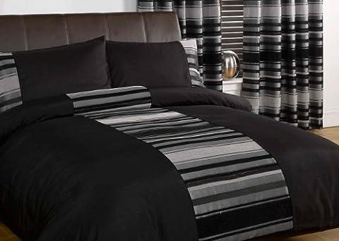 Just Contempo Striped Duvet Cover Set, King, Black