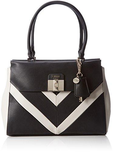 Guess Damen Rebel Roma Satchel Handtaschen, Mehrfarbig (Black Multi), One Size (Satchel Handtasche Multi-tasche)