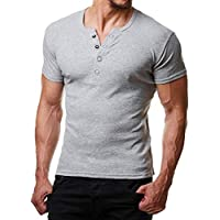 Hombres Color Sólido Top Mens Buttons con Cuello En V Camisetas Summer Muscle Tight Top M-2Xl