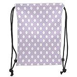 GONIESA Drawstring Sack Backpacks Bags,Lavender,Big White Polka Dots on Pastel Colored Background Retro Style Pattern Print Decorative,Lavender White Soft Satin,5 Liter Capacity,Adjustable STRI