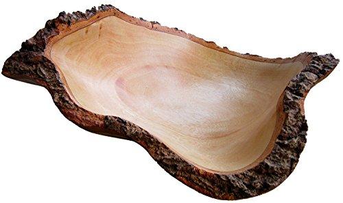 RoRo 10in Mango Holz Obstschale mit Rinde Kanten aus nachhaltigem Orchard Holz -