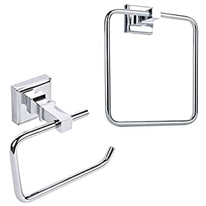 Towel ring toilet roll holder 2 pcs bathroom accessory sets brass chrome plated for Chrome plated brass bathroom accessories