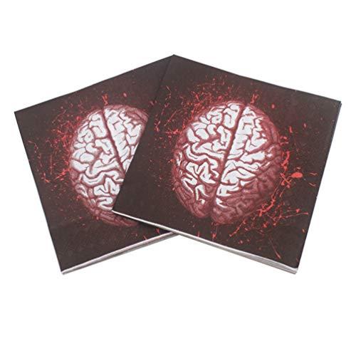 Amosfun 100 Blatt Neuheit Papierservietten Halloween Servietten Gehirn gedruckt blutige Servietten