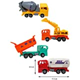 Parteet Die Cast Pull Back Plastic Trucks Toy Set Of 4 For Your Kids