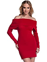 Glamour Empire Women's Stretch Warm Knitted Bardot Off Shoulder Dress 909
