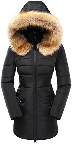 Aitesen Women's Down Coat With Faux Fur Hood 90D Parka Puffer Jacket 57-Black-S Womens Down Coat