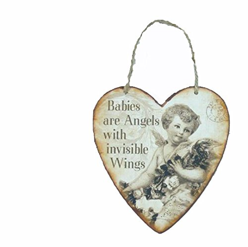 MinaWum Herz Blechschild BABIES ARE ANGELS WITH INVISIBLE WINGS II 15cm x 13,5cm Schild im Shabby Chic Style