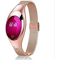 JxucTo Freundlich Einstellbare Touch Farbe Bildschirm Smart Armband Uhr Pulsmesser Schlaf Schrittzähler Fitness Tracker (Golden)