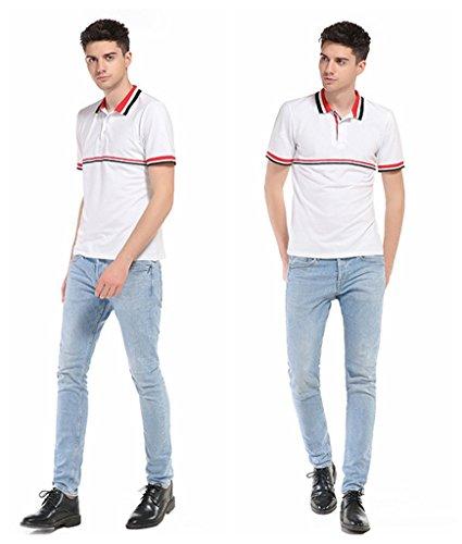 Whatlees Herren Basic kurzarm Poloshirts Hemd Shirts in verschiedene Farben B534-White