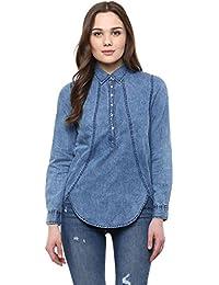 59cf842b6f StyleStone Women s Blue Denim Cape Shirt