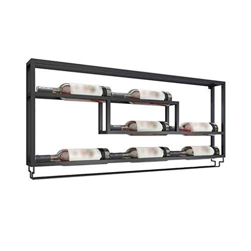 L.HPT Range-Bouteilles de vin, Support Mural en métal pouvant contenir 7 Bouteilles et 10 Bouteilles de Stockage pour Cave à vin de Bar de Cuisine