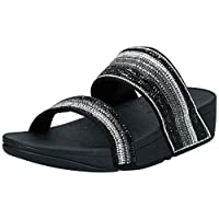 FITFLOP Rosa Crystal Mosaic Slides, Women's Fashion Sandals - Black (All Black), 7 UK (41 EU)