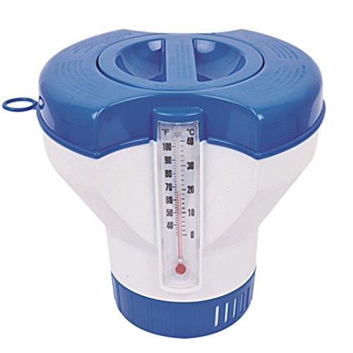 Jilong Chlor-Dosierer Ø 22,8 cm Pool Dosierschwimmer mit Thermometer Schwimmbecken Chemikalienspender für Schwimmbad Chlor Tabletten Ø 7,5 - 10,5 cm