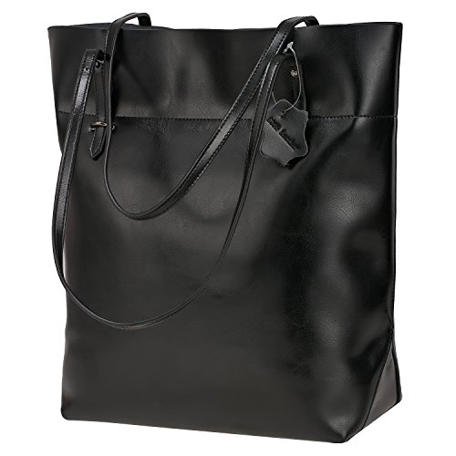 S-ZONE Vintage Split Genuine Leather Tote del sacchetto di spalla di grande capienza Big Nero