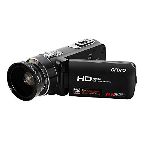 ORDRO Professioneller Full HD Camcorder mit Weitwinkelobjektiv 1080P 10X Stabilisierter optischer Zoom Digitale Videokamera HDMI Ausgang