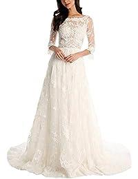 VIPbridal Vestido de novia de encaje Long Beach vestidos de novia con mangas