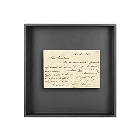 toupatou-postcard Box, Vintage Postcard Original First Framed 900in Square Box of Wood Black messaggio 5 cm