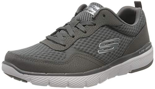 Skechers FLEX ADVANTAGE 3.0 Men's Low-Top Trainers, Grey Charcoal Leather/Mesh/Trim Charcoal, 8 UK...