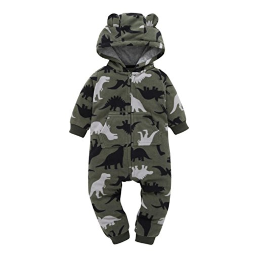 Strampler Kolylong® 1 PC (0-24 Monate) Baby Jungen Mädchen Tarnung Spielanzug mit kapuze Herbst Winter Dicker Strampelhöschen Warme Outfits Mantel Jacke Rompers (85CM(9-12 Monate), Tarnung) (Set Hose Bestickte Winter)
