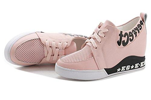 Damen Runde Zehen Mesh Gitter Atmungsaktive Schnürsenkel Flache Bequeme Innenaufzug Sneakers Pink