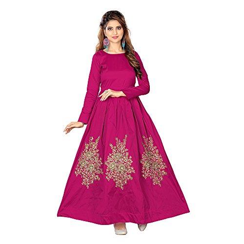 Purva Art Women\'s Taffeta Silk Ready to Wear Emboridered Long Gown(PA_1512_136_X-Large_Rani-Pink)