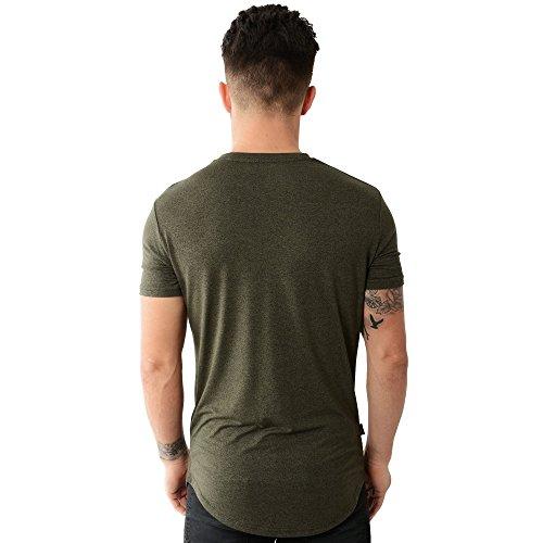 Gym King Long Line Burnt T-Shirt - Olive Olive