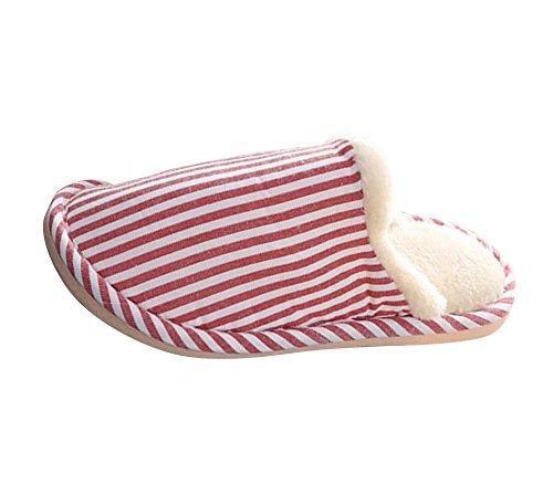 Hiver Pantoufles Maison Doux Anti-slip Slip-on Chaussures Chaud En Peluche Maison Chaussures Pour Femmes Hommes Unisexe Rouge