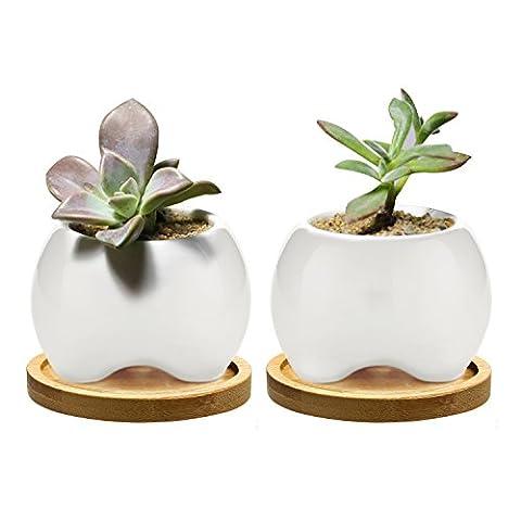Chasegarden 9cm en céramique rond Blanc Design Simple Plante Pot/Cactus Pot de fleurs Pot de fleurs avec plateau en bambou/jardinière/boîte/pot de fleurs Blanc Package 1Lot de 2