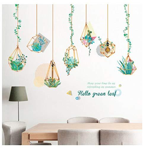 JHFVB 150 * 102 cm große grüne Blatt Wand sukkulente Blume Dekoration grüne Pflanze hängenden Korb Kunst DIY raumdekoration