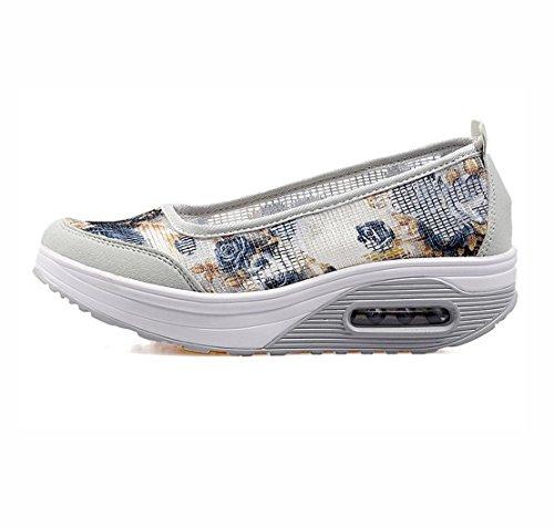 WZG Verbandsmull Schuhe atmungsaktive Mesh-Schuhe Kissen Turnschuhe Schuhe shook schwerem Boden Schuhe gesetzt erhöht Fuß flower grey