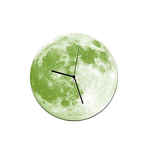 YU-K 30 Cm Kreative hell leuchtenden Mond Wanduhr Wanduhr Wanduhr Acryl wasserdichte Wanduhr grünes Gras Mond