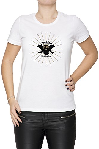 Punkish Generation Donna T-shirt Bianco Cotone Girocollo Maniche Corte White Women's T-shirt