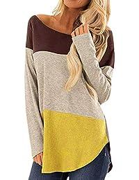 Luckycat Camiseta de Mujer Camisas O-Cuello Manga de Larga Camisa Patchwork Blusas Suelto Tops Casual Pullover Mujer Sweatshirt