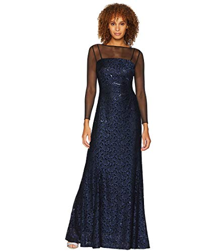 Tahari by ASL Womens Long Sleeve Sequin Lace Column Gown with Illusion Neckline