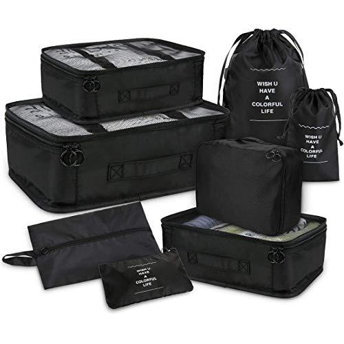 Joyoldelf 8 stück Kleidertaschen, verbesserte Koffer Gepäck Aufbewahrung Taschen Organiser für trockene Kleidung, Schuhe, Unterwäsche, Kosmetik, Bücher, Süßigkeiten und andere Zubehör (Schwarz) -