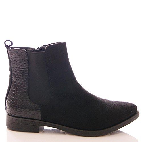 Generic - Stivali Chelsea donna Nero (Ecopelle scamosciata nera)