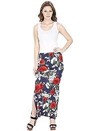 FRANCLO Women's Floral Print Skirt (Best fit 28-30 Waist)