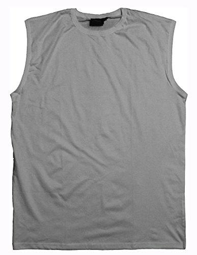Espionage Premium Baumwollshirt mit Rundhalsausschnitt ohne Ärmel T-Shirt / Muskelshirt in Größe 2XL bis 8XL, 6 Farben Silbern mergel