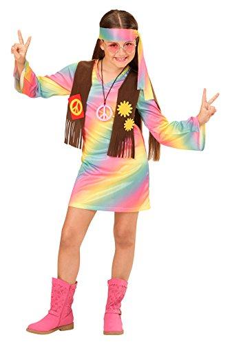 Widmann 73356 - Kinderkostüm Hippie Mädchen, Kleid, angenähte Weste und Stirnband, Regenbogen, Größe (Hippie Kostüme Mädchen)